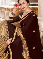 Fancy Fabric Beige and Brown Embroidered Saree