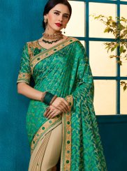 Fancy Fabric Beige and Sea Green Embroidered Designer Half N Half Saree