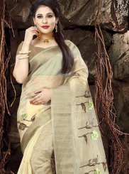 Fancy Fabric Beige Print Saree