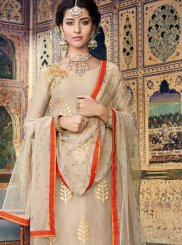 Fancy Fabric Beige Resham Designer Palazzo Suit