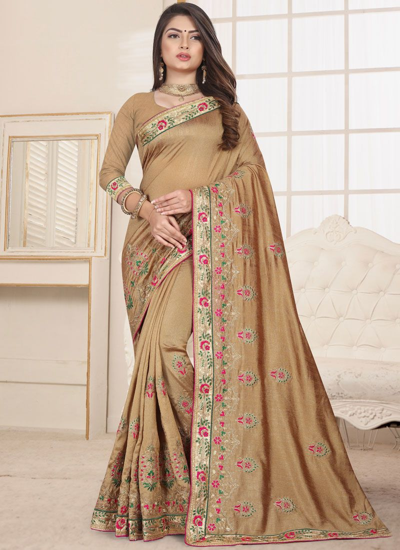 Fancy Fabric Beige Traditional Saree