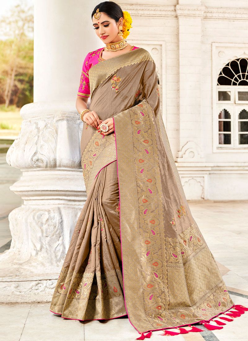 9018440dbbd Fancy Fabric Beige Zari Traditional Designer Saree