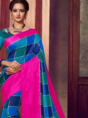 Fancy Fabric Blue Abstract Print Classic Saree