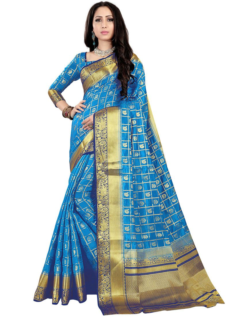 Fancy Fabric Blue Weaving Traditional Saree