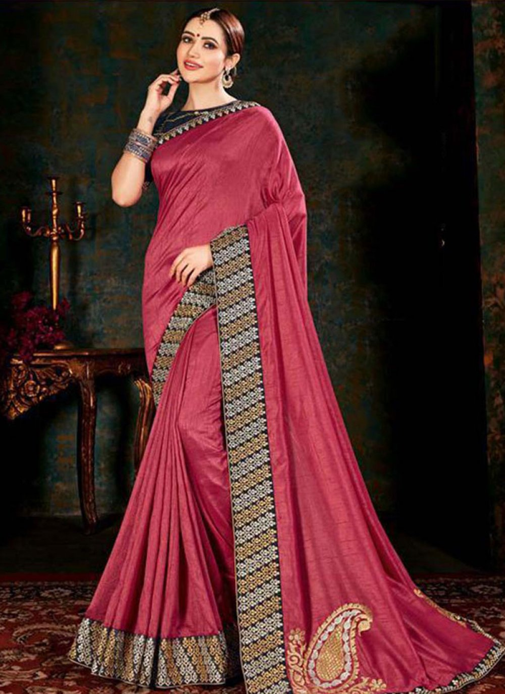 Fancy Fabric Border Rose Pink Classic Saree