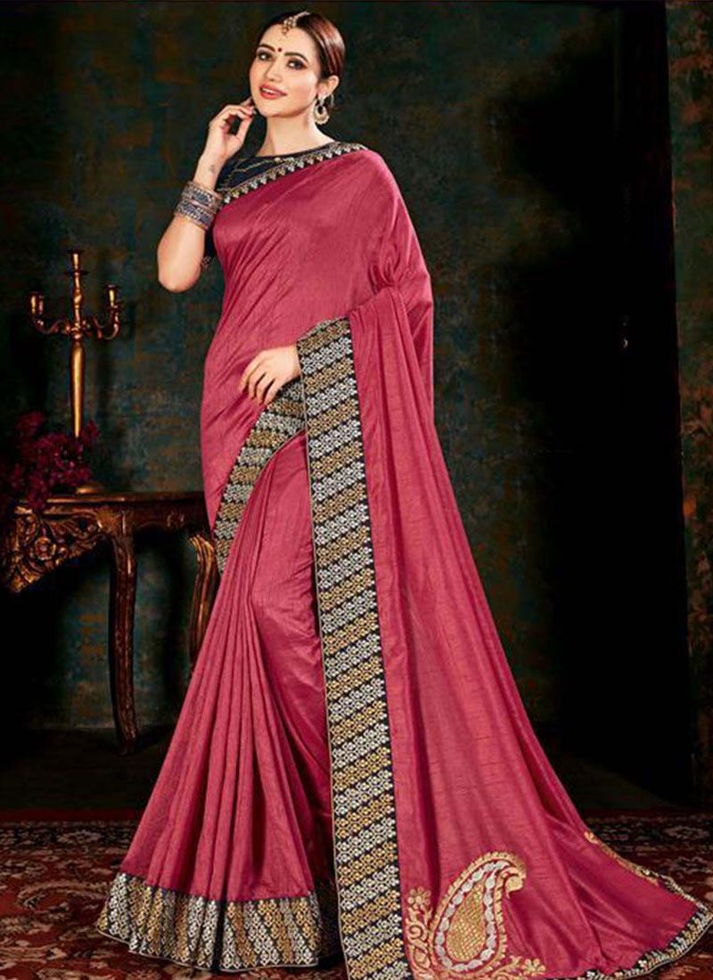 Fancy Fabric Border Rose Pink Classic Saree