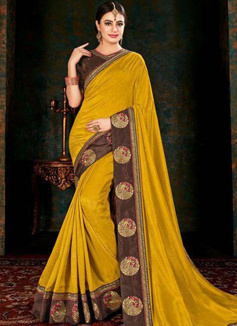 Fancy Fabric Border Yellow Classic Saree