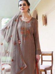 Fancy Fabric Brown Designer Pakistani Suit