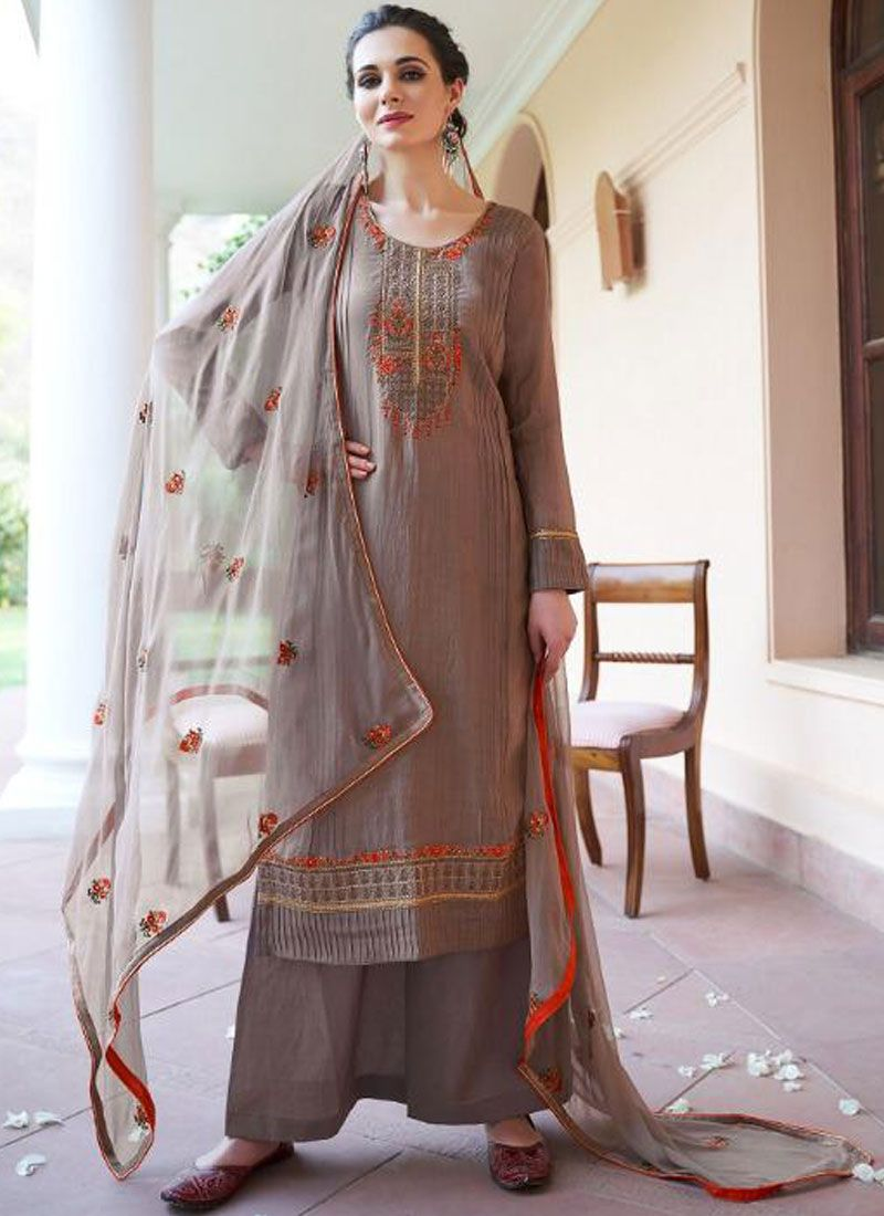 Fancy Fabric Brown Designer Pakistani Suit