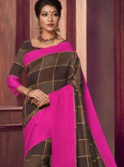 Fancy Fabric Brown Saree