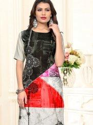 Fancy Fabric Casual Kurti in Multi Colour