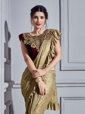 Fancy Fabric Classic Designer Saree in Beige