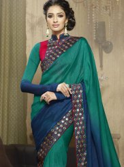 Fancy Fabric Classic Designer Saree in Navy Blue and Sea Green