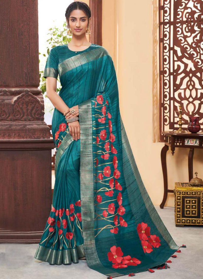 Fancy Fabric Classic Designer Saree in Teal