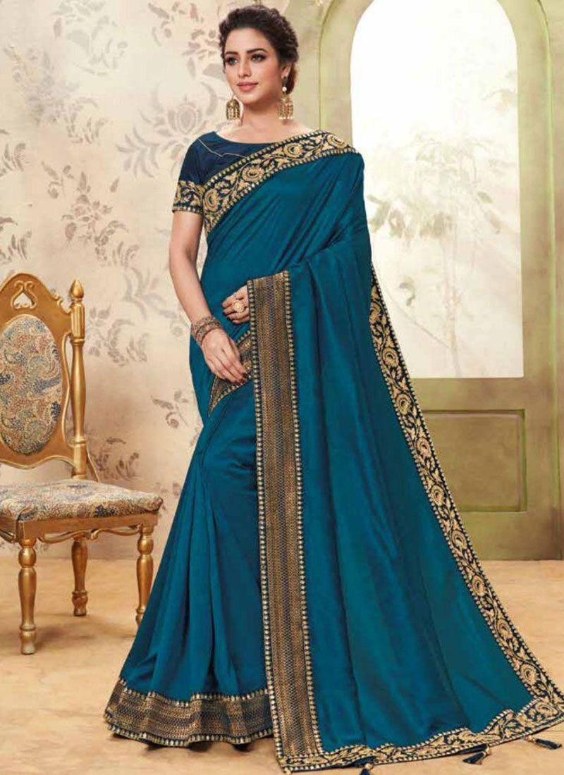 Fancy Fabric Classic Saree in Blue