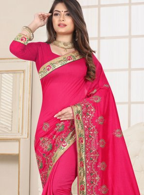 Fancy Fabric Classic Saree in Pink