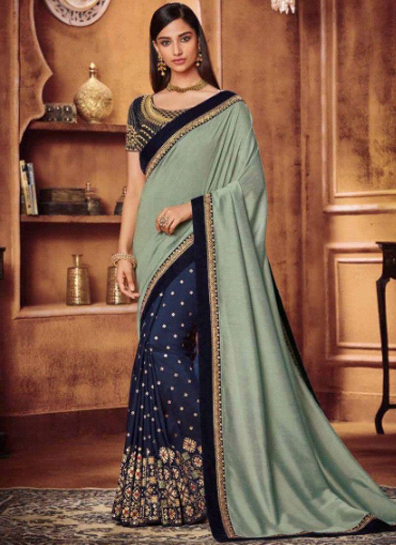 Fancy Fabric Designer Half N Half Saree in Blue and Grey
