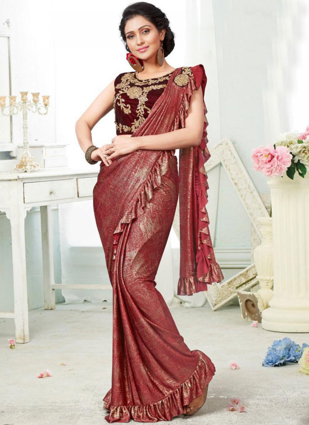 Fancy Fabric Designer Saree in Multi Colour