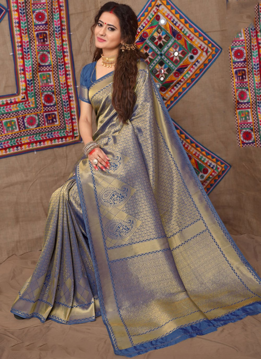 Fancy Fabric Designer Traditional Saree in Blue