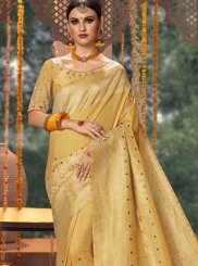 Fancy Fabric Designer Traditional Saree in Cream