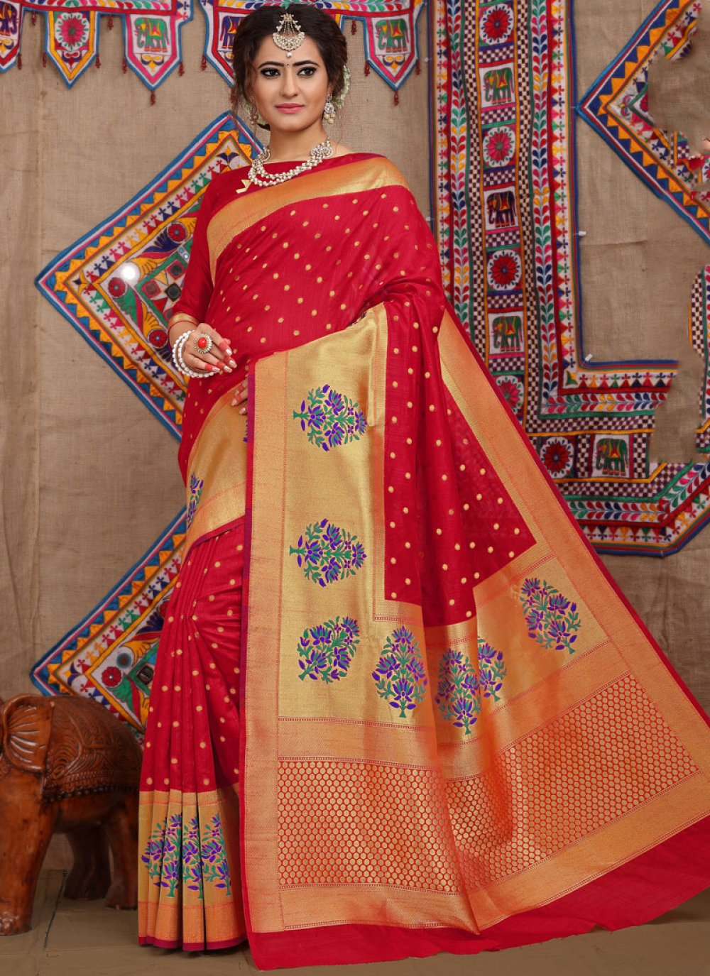Fancy Fabric Designer Traditional Saree in Red