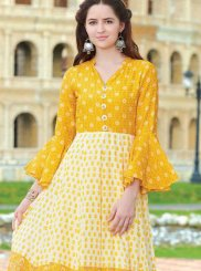 Fancy Fabric Digital Print Party Wear Kurti in Multi Colour
