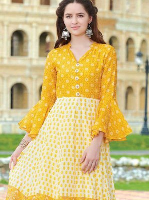 Fancy Fabric Digital Print Party Wear Kurti in Multi Colour