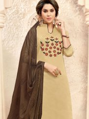 Fancy Fabric Embroidered Beige Churidar Suit