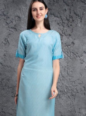 Fancy Fabric Embroidered Blue Casual Kurti