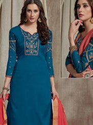 Fancy Fabric Embroidered Blue Designer Palazzo Suit