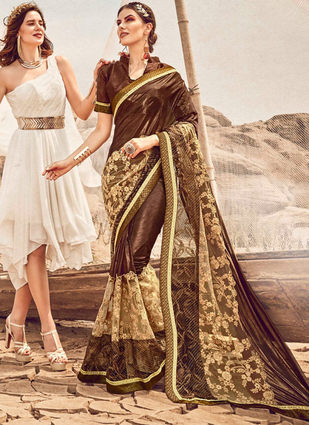 Fancy Fabric Embroidered Brown Designer Traditional Saree