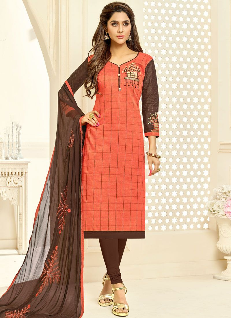 Fancy Fabric Embroidered Churidar Suit in Peach