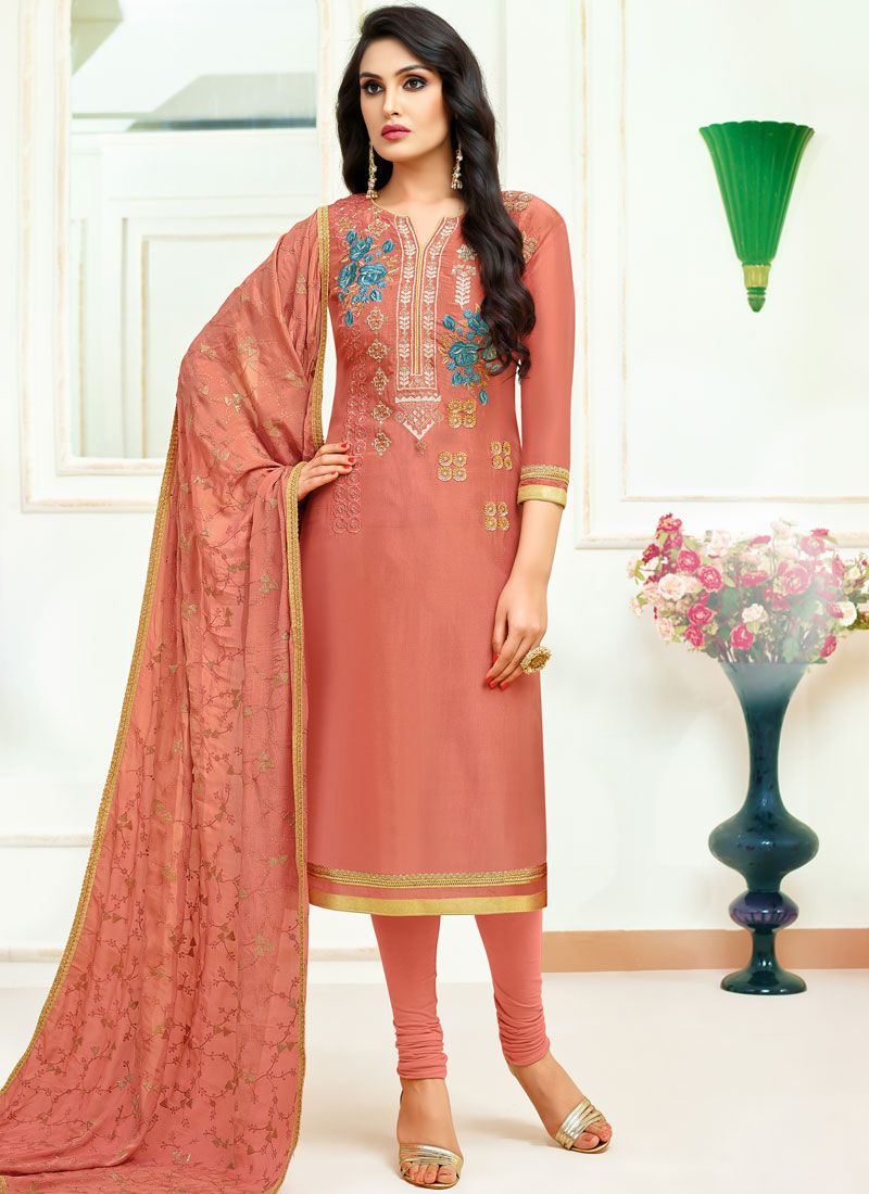 Fancy Fabric Embroidered Designer Straight Suit
