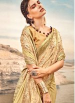 Fancy Fabric Embroidered Designer Traditional Saree in Gold
