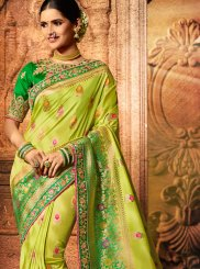 Fancy Fabric Embroidered Green Classic Saree