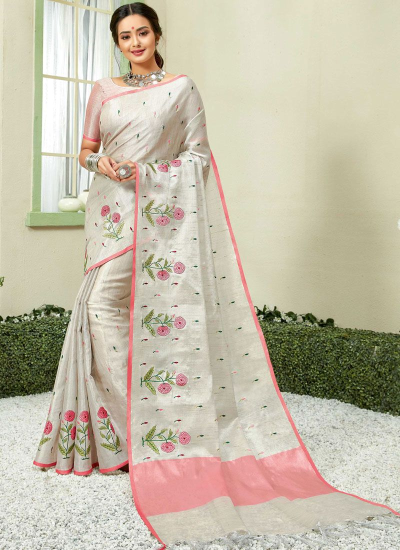 Fancy Fabric Embroidered Grey and Pink Casual Saree