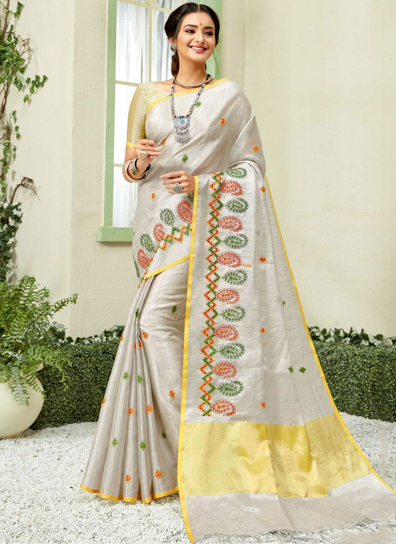 Fancy Fabric Embroidered Grey and Yellow Classic Saree