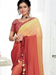 Fancy Fabric Embroidered Multi Colour Designer Saree