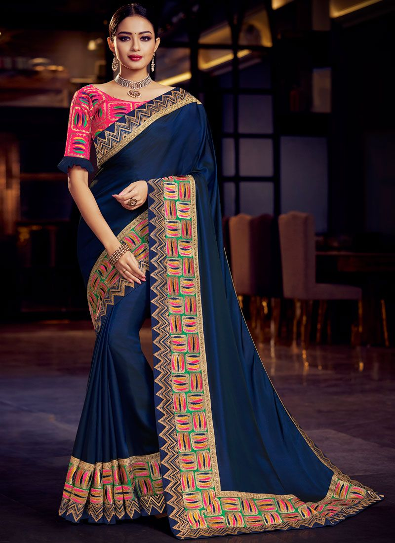 Fancy Fabric Embroidered Navy Blue Classic Saree
