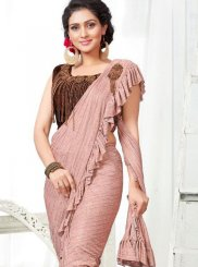 Fancy Fabric Embroidered Peach Designer Saree