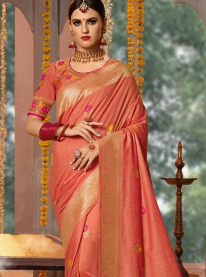 Fancy Fabric Embroidered Peach Traditional Designer Saree