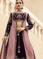 Fancy Fabric Embroidered Purple Designer Lehenga Choli