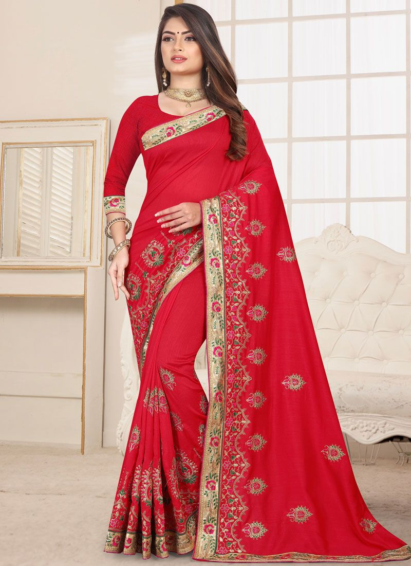 Fancy Fabric Embroidered Red Classic Saree