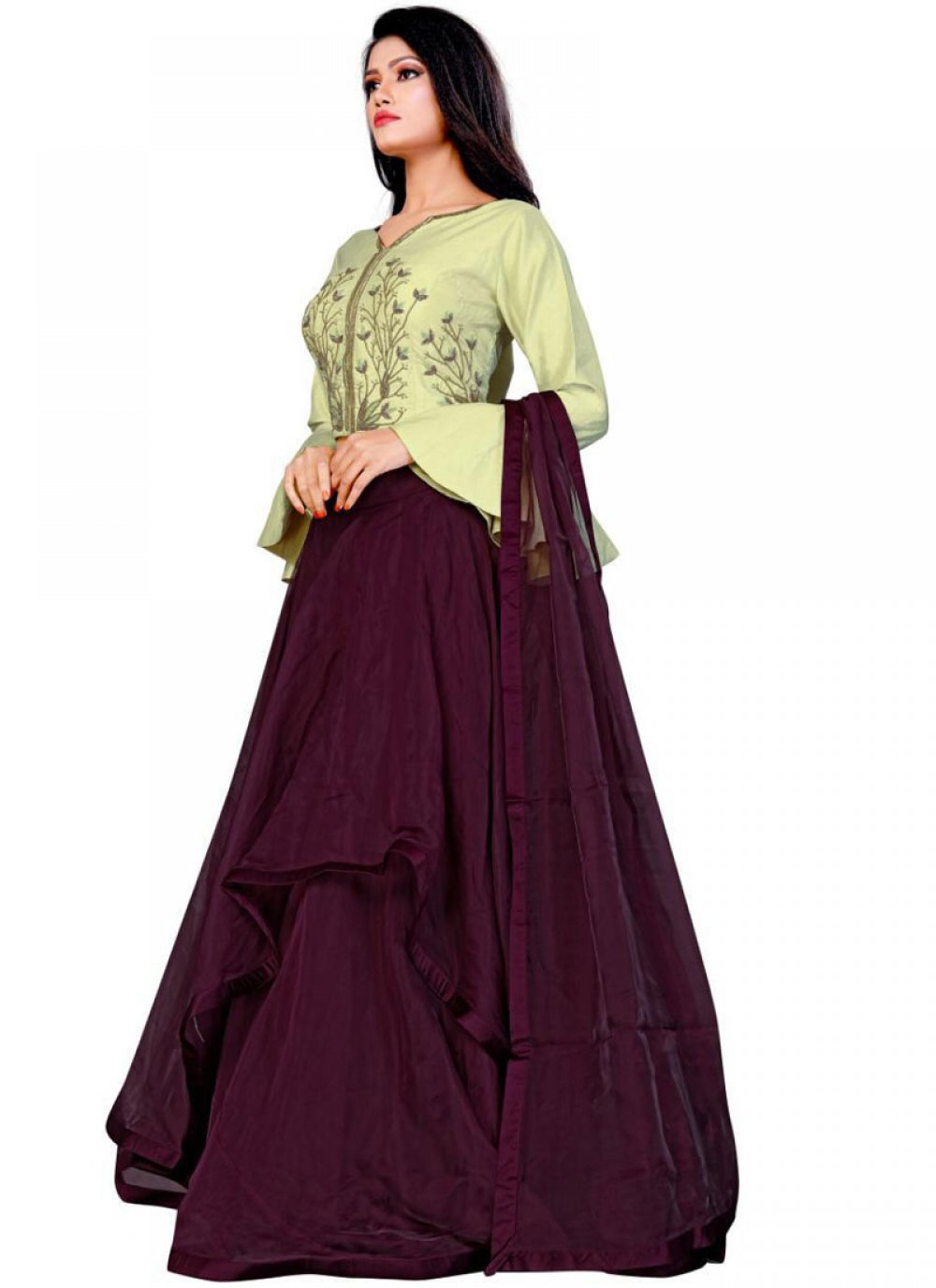 Fancy Fabric Embroidered Rust Trendy Designer Lehenga Choli