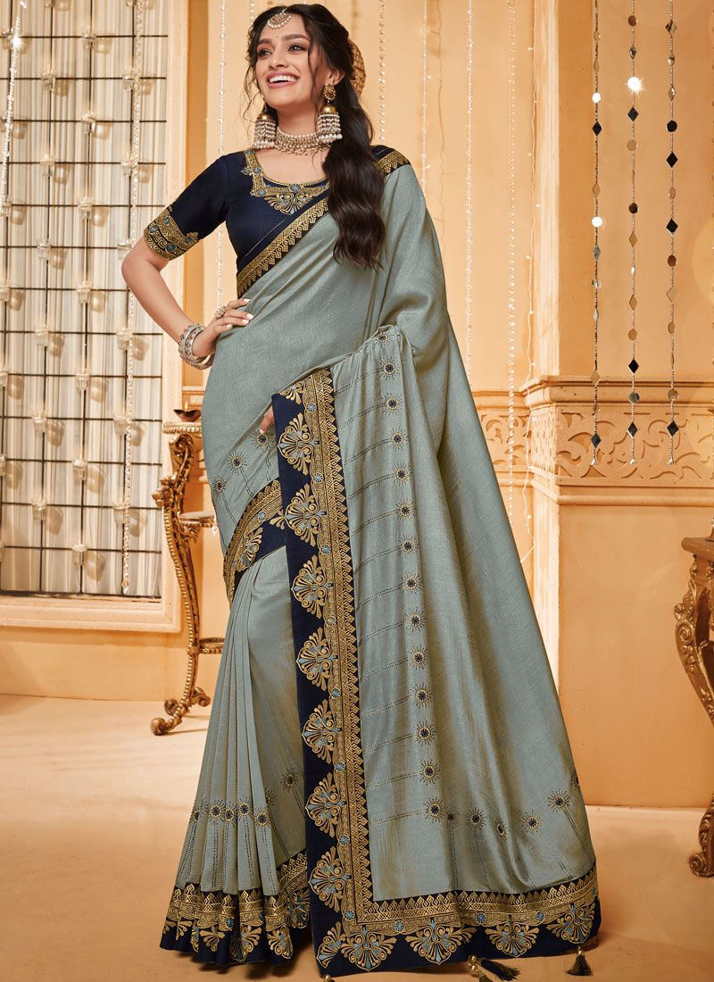 Fancy Fabric Embroidered Traditional Saree