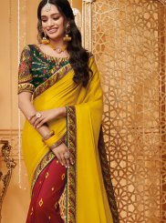 Fancy Fabric Embroidered Yellow Classic Saree