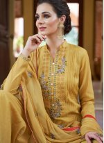 Fancy Fabric Embroidered Yellow Designer Pakistani Suit