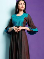 Fancy Fabric Fancy Brown Party Wear Kurti