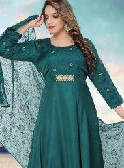 Fancy Fabric Fancy Green Readymade Anarkali Suit