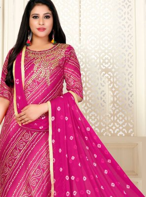 Fancy Fabric Fancy Hot Pink Designer Straight Suit